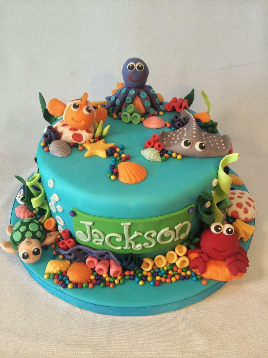 Peachy Aquarium Cake With Images Ocean Cakes Aquarium Cake Ocean Funny Birthday Cards Online Necthendildamsfinfo