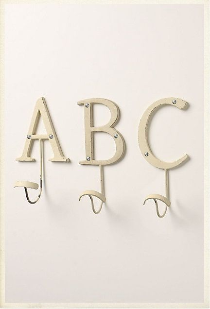 Life with Lucie & Ella: Make Your Own Letter Towel Hooks | Kid's