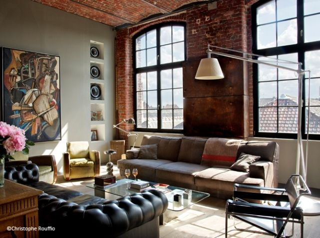Idee deco salon loft d co industrielle industrial for Idee pour salon deco