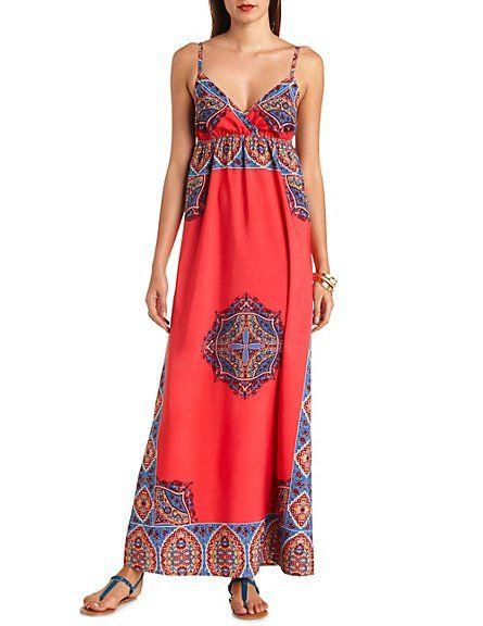cec296d348f8 Scarf Print Empire Waist Maxi Dress: Charlotte Russe | Wear ...