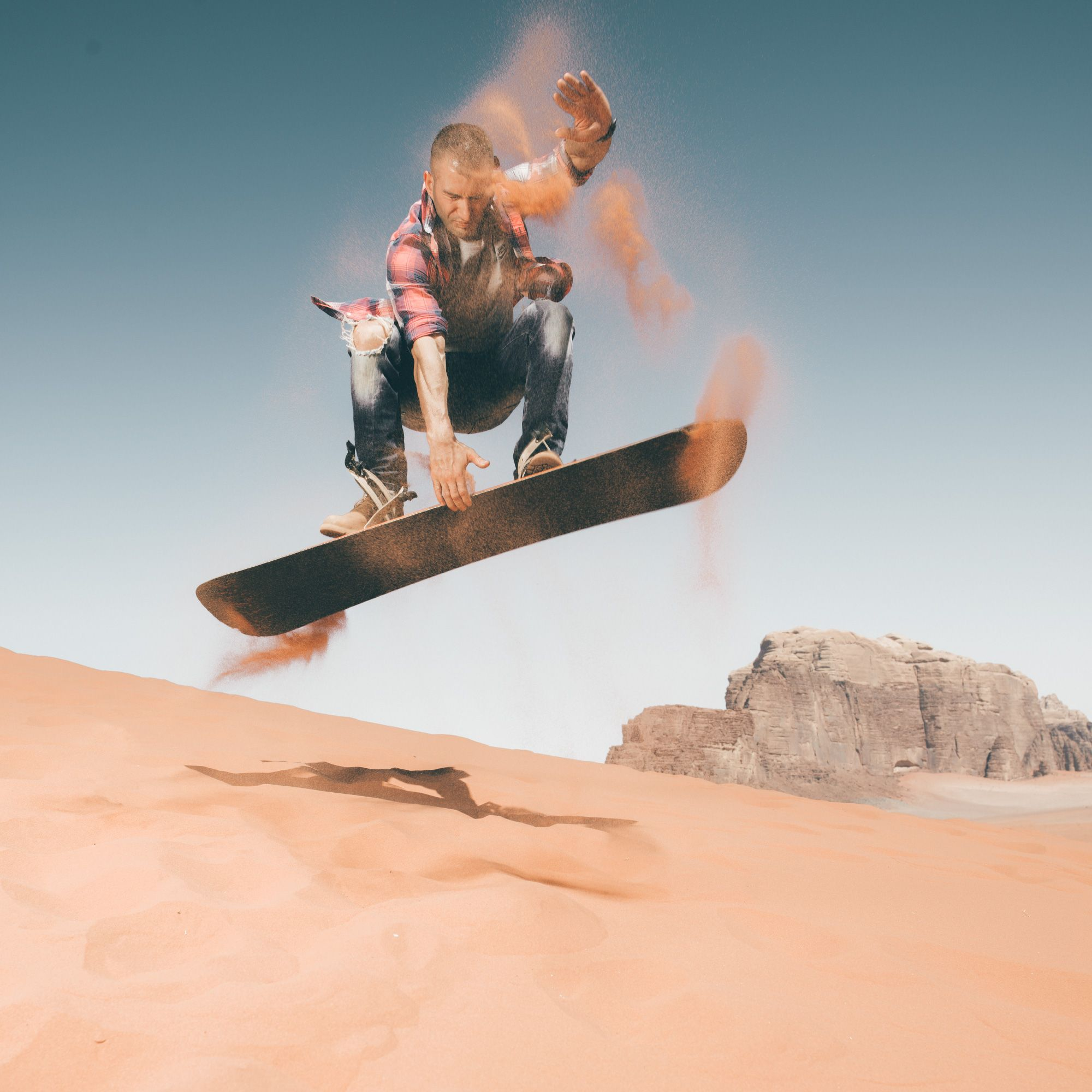 Riding the sand dunes in Wadi Rum  Who needs snow , when you