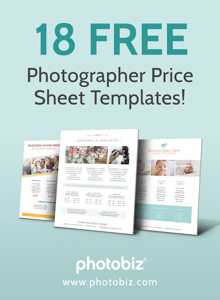 18 Free Photographer Price Sheet Templates Photography Price List Template Photography Pricing Photographer Pricing Guide Template