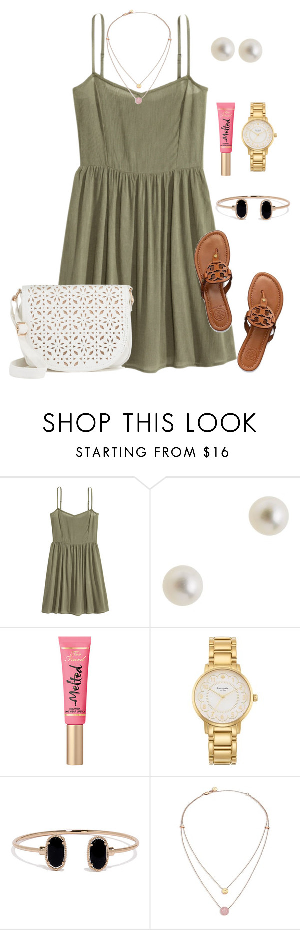 """""""Preppy otd"""" by christyaphan ❤ liked on Polyvore featuring J.Crew, Too Faced Cosmetics, Kate Spade, LULUS, Michael Kors and Under One Sky"""