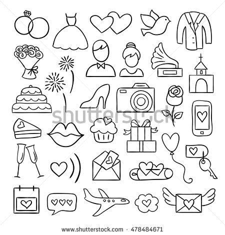 Photo of Wedding Icons Vector Wedding Celebration Illustrations Stock Vector (Royalty Free) 478484671