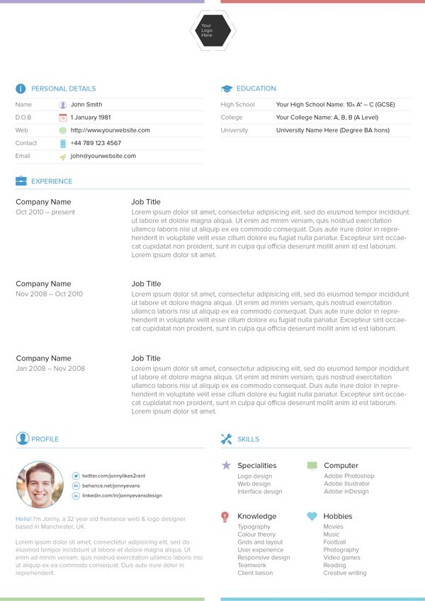25 Best Free Professional CV (Resume) Templates 2014 Interesting