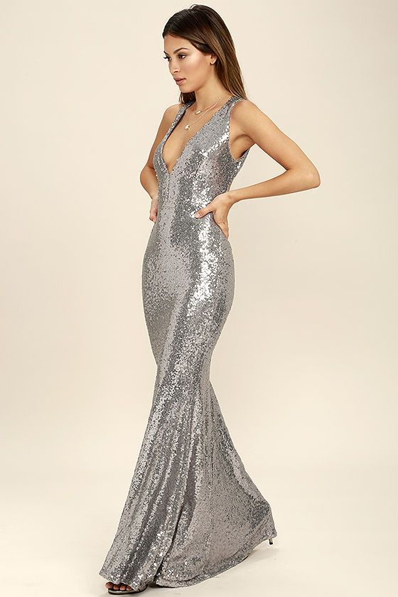 6472e78e20b5 Your good fortune just got better thanks to the Your Luxe Day Pewter Sequin  Maxi Dress! Shimmering pewter sequins cover stretch knit as it shapes a  plunging ...
