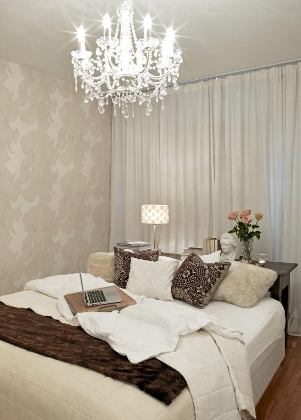 I like the idea of wall to wall curtains behind the bed #bedroom and ...