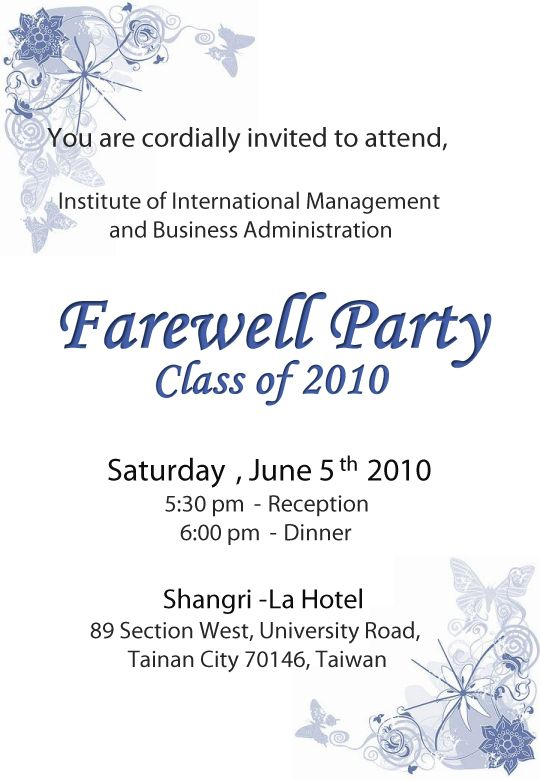 Send Off Party Invitation Letter Yeter Wpart Co
