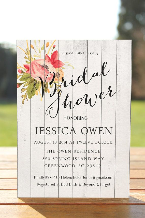 Fall Bridal Shower Invitation Wood Invite Printable Country Wedding Vintage