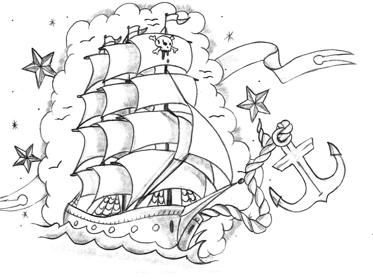 Boat Anchor Coloring Page Ship Tattoo Pirate Tattoo Coloring Pages