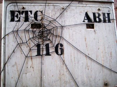 wire web on public sign