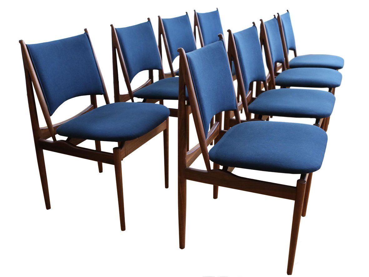 Terrific Mid Century Modern Teak Dining Chairs In Navy Blue Set Of Gmtry Best Dining Table And Chair Ideas Images Gmtryco