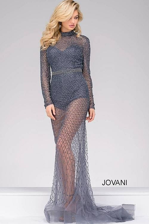 Gunmetal fully beaded long sleeve pageant dress 46950 | Grey ...