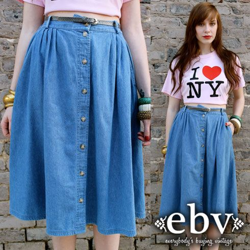 Vintage 90's HIGH WAISTED button up DENIM jean MIDI skirt | 90's ...