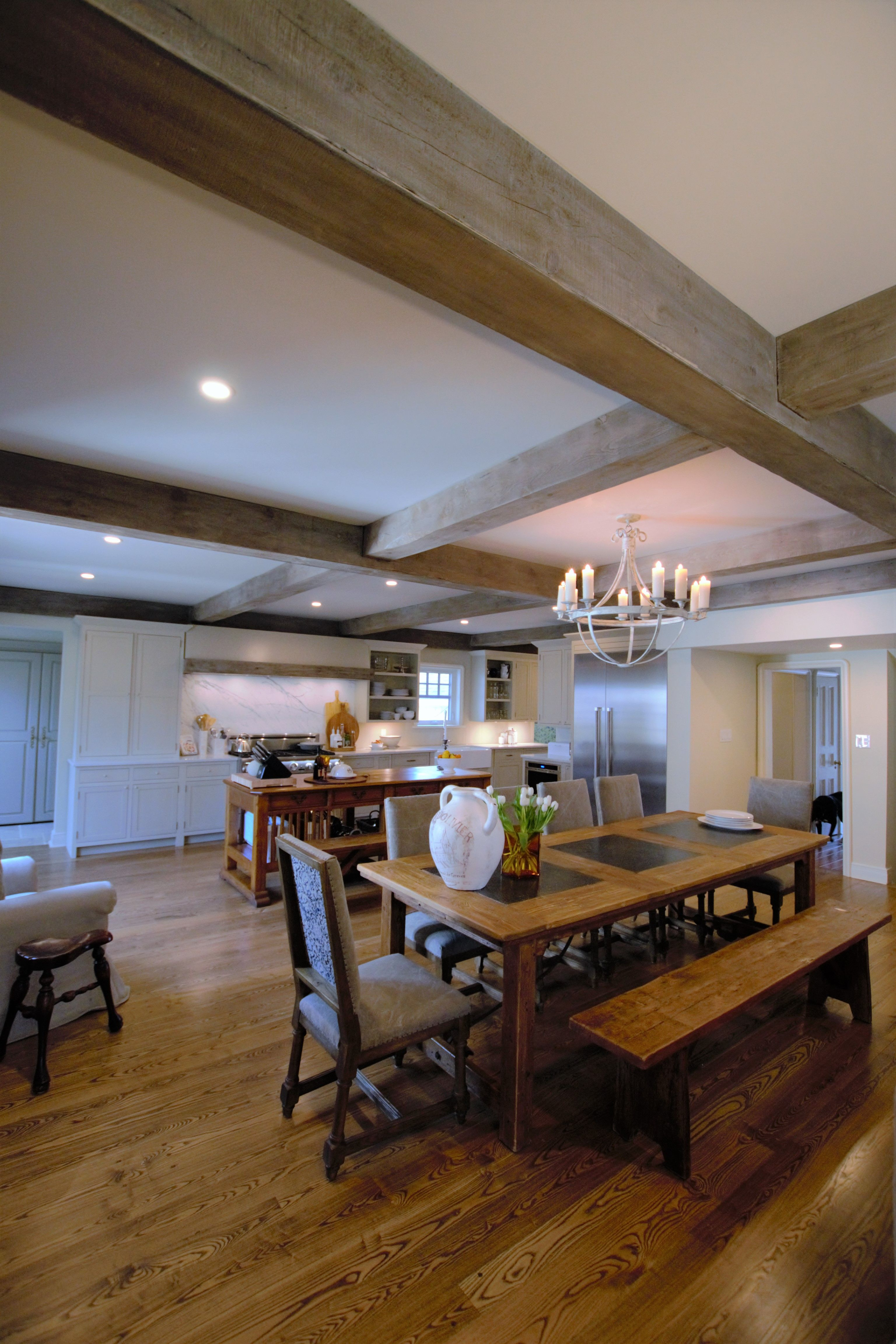 peg and groove hardwood flooring, barn board coffers ...