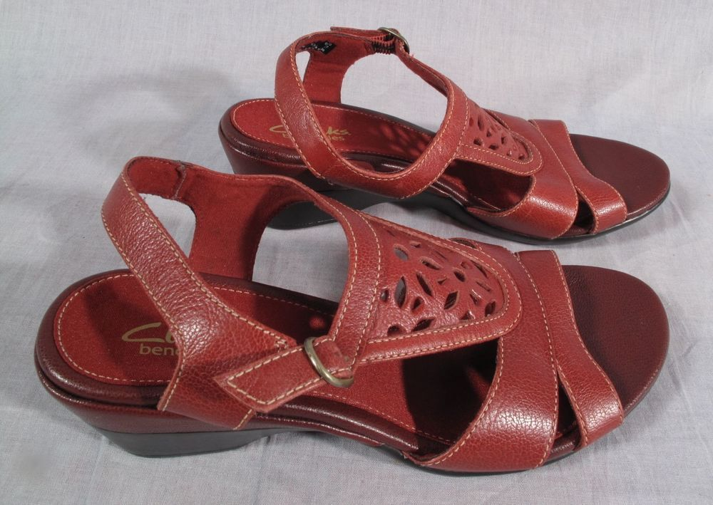 9a04443dcd198 Women s Clarks Bendables Sandals Red Size 6.5 M Ankle Strap Leather Medium   Clarks  AnkleStrap