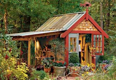 The Progressive Farmer has designed this 8- x 10-foot potting shed. We built one, minus the overhang, in three days. The 6-foot overhang extends the working area outside. Three windows let in natural light. A Dutch door lets in fresh air, while keeping the dog out of the shed. There are three countertops—two inside and one under the overhang. Free plans!