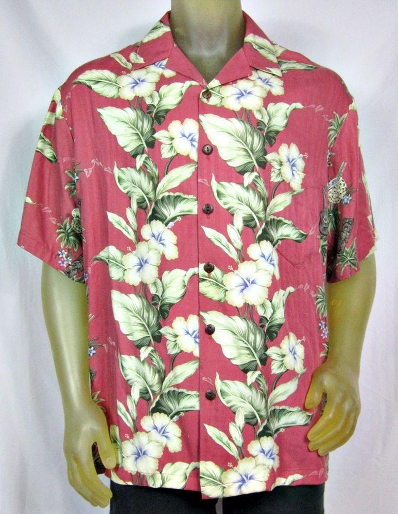 4924d1a2 Hilo Hattie Hawaiian Original Camp Shirt Hibiscus Tikis Ukuleles Rayon  Large #HiloHattie #Hawaiian
