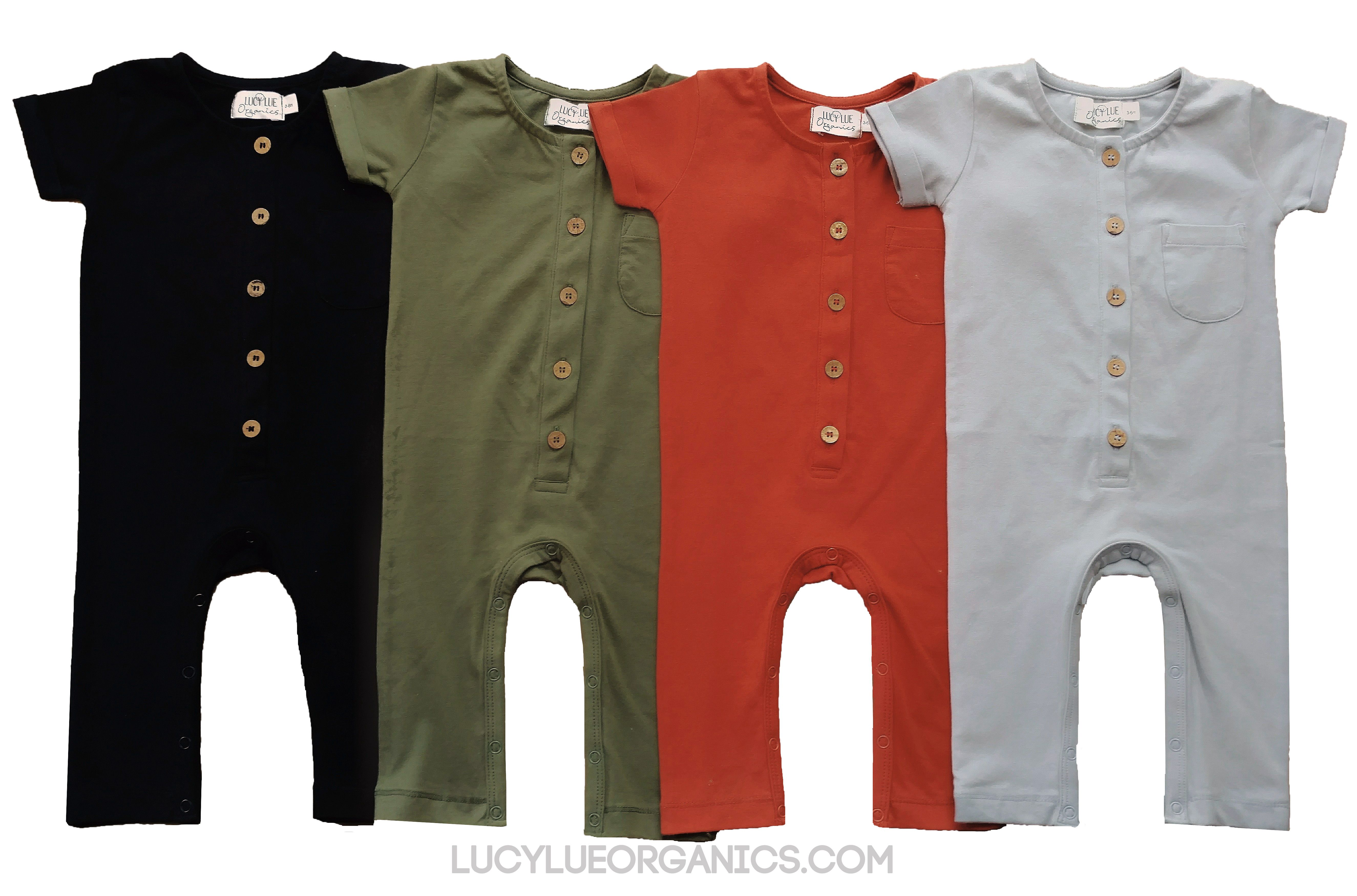 969aeb075 NEW STYLES BY LUCY LUE ORGANICS! Organic cotton baby rompers. Unisex  styles, neutral colors. For the best in modern organic baby clothes, ...