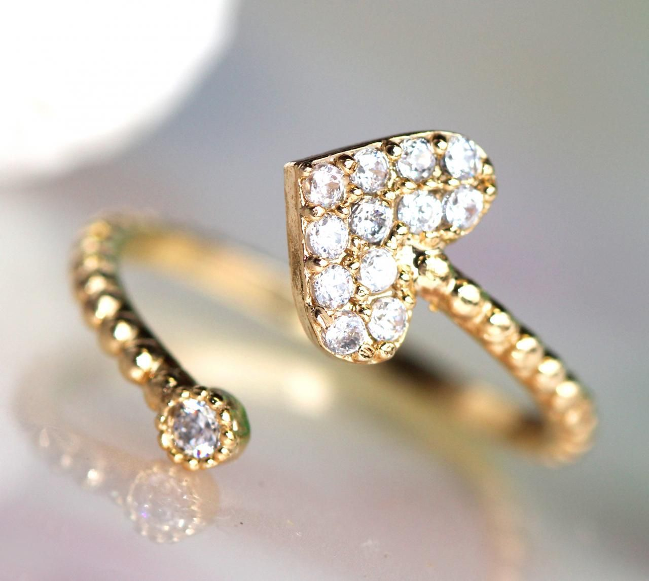 Gold one) Adjustable Lovely Gold Plated Heart-shape Ring ...