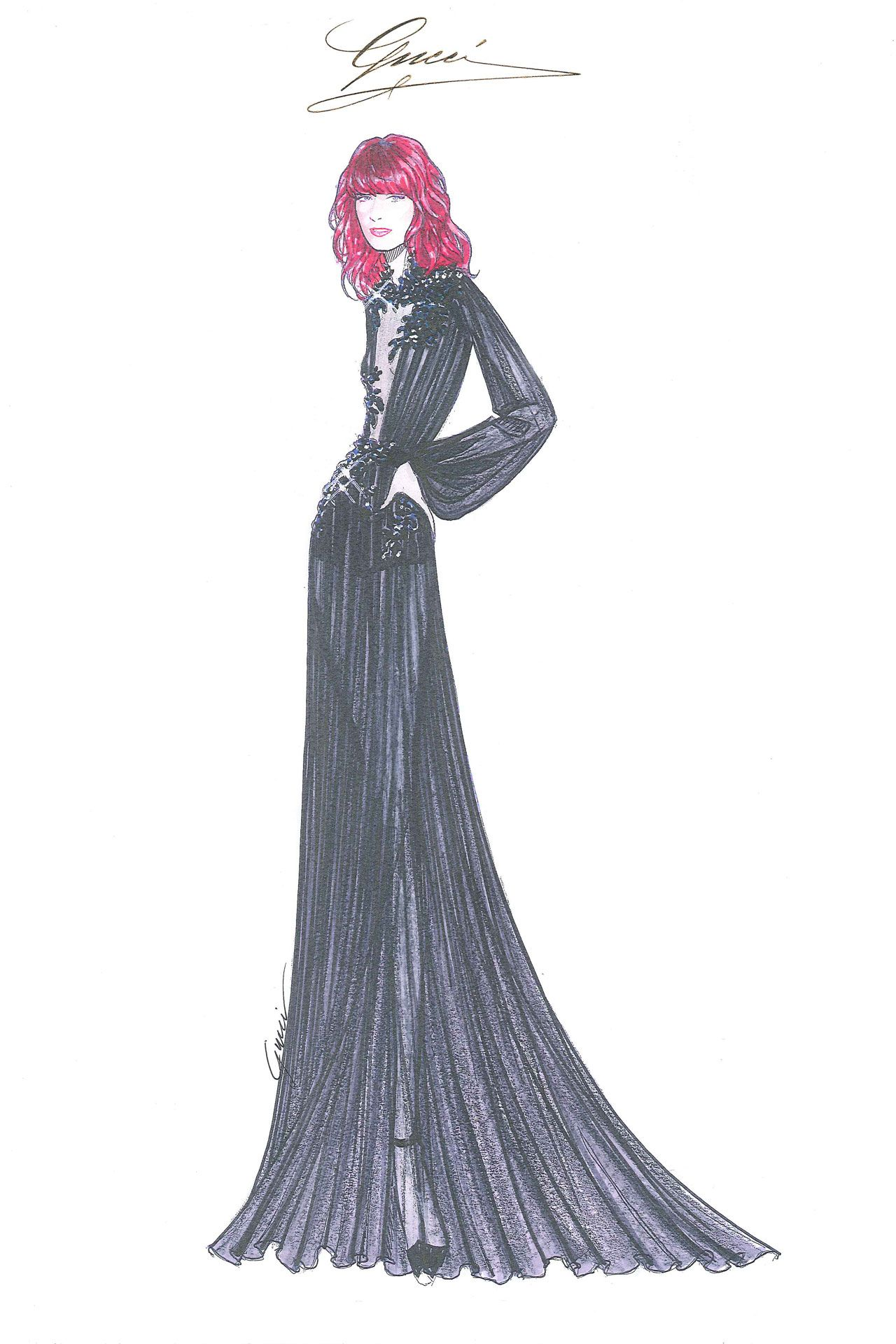 Gucci fashion sketches of dresses