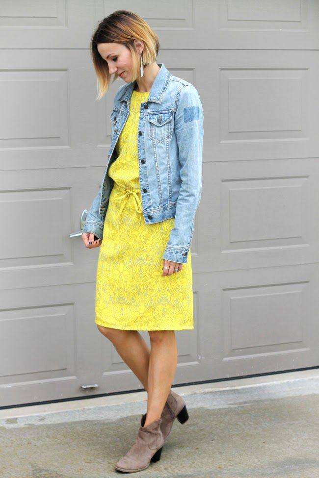 denim jacket, yellow dress and gray ankle boots | my style ...