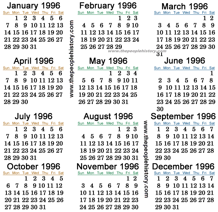 1996 Calendar The World Around Us The Year We Were Married