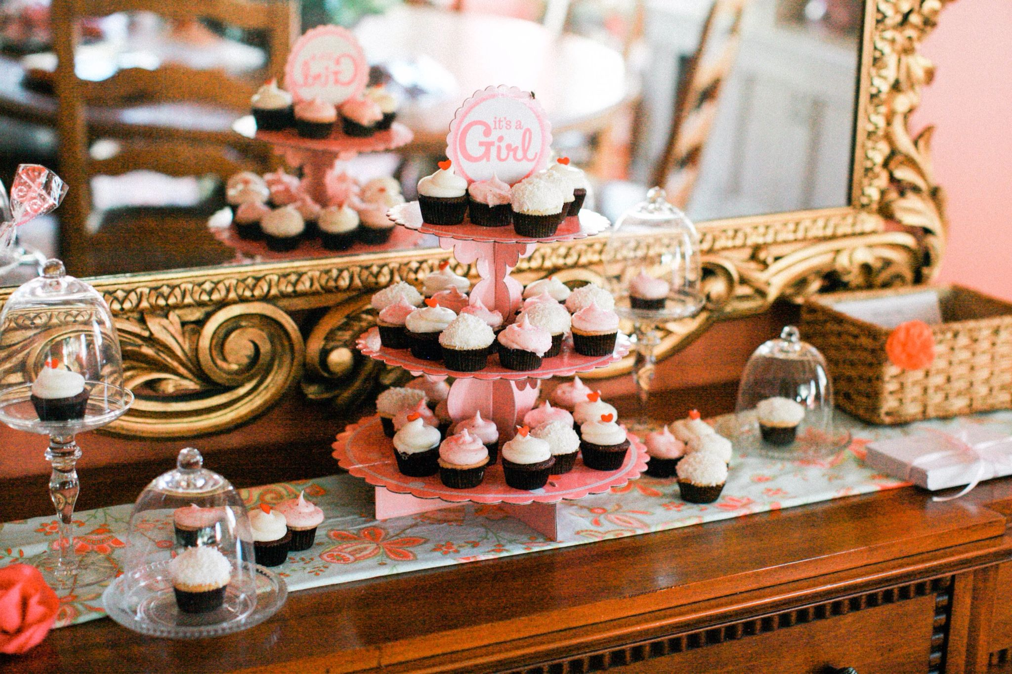 Mini cupcakes presentation for a baby girl shower. Photo by Diana Marie Photography