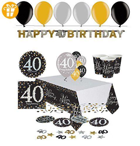 Festefeiern Komplettes Party Set Zum 40 Geburtstag 47 Teile Gold