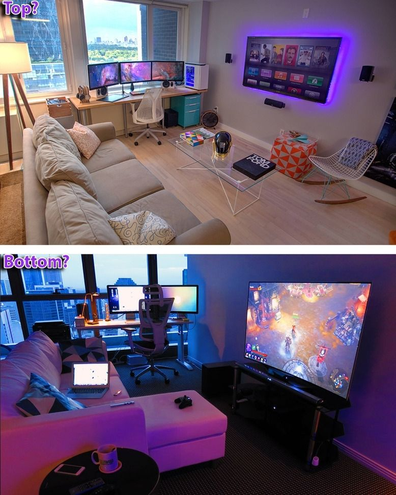 Which Gaming Room Do You Like Better And Why Both Have A Pc Station In Front Of A Beautiful View Of Their City The Game Room Game Room Decor Gamer