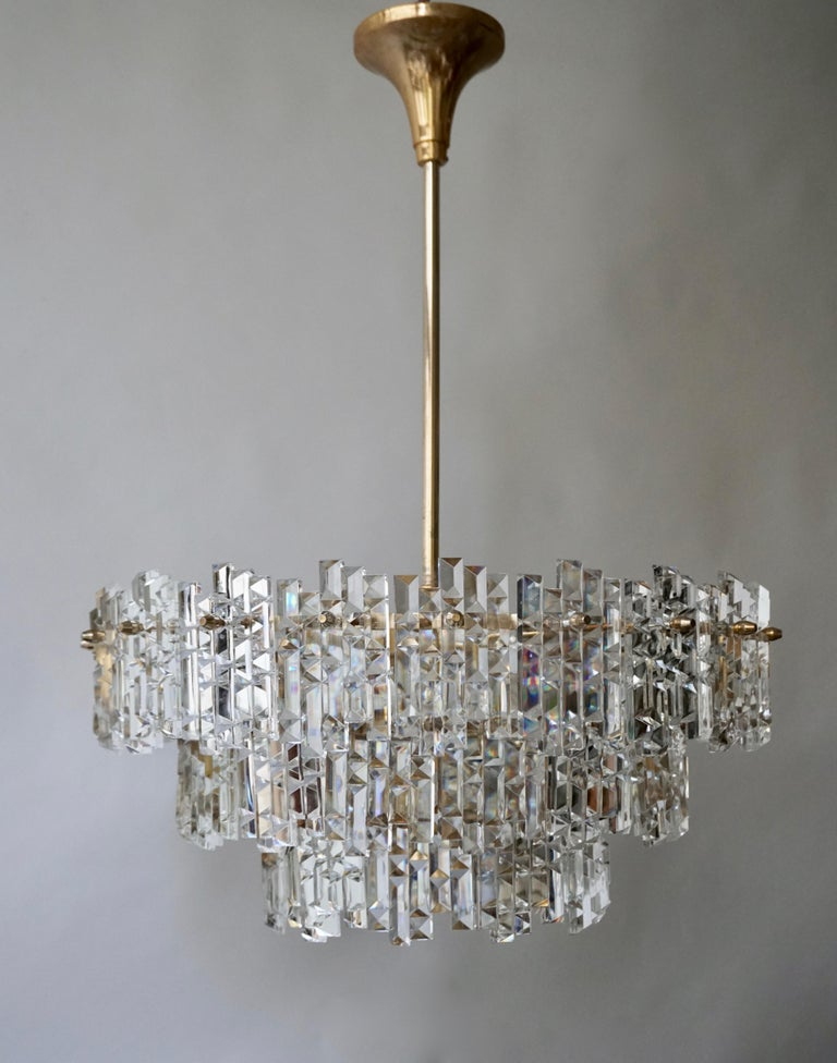 Gilt Brass Crystal Murano Glass Chandelier For Sale At 1stdibs In