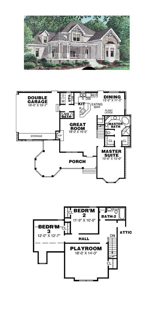 victorian house plan 67003 | total living area: 2044 sq. ft., 3