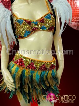 1a365f88cff5 CHARISMATICO Two Pieces Tribal Striped Sequin Corset Bra with feather skirt