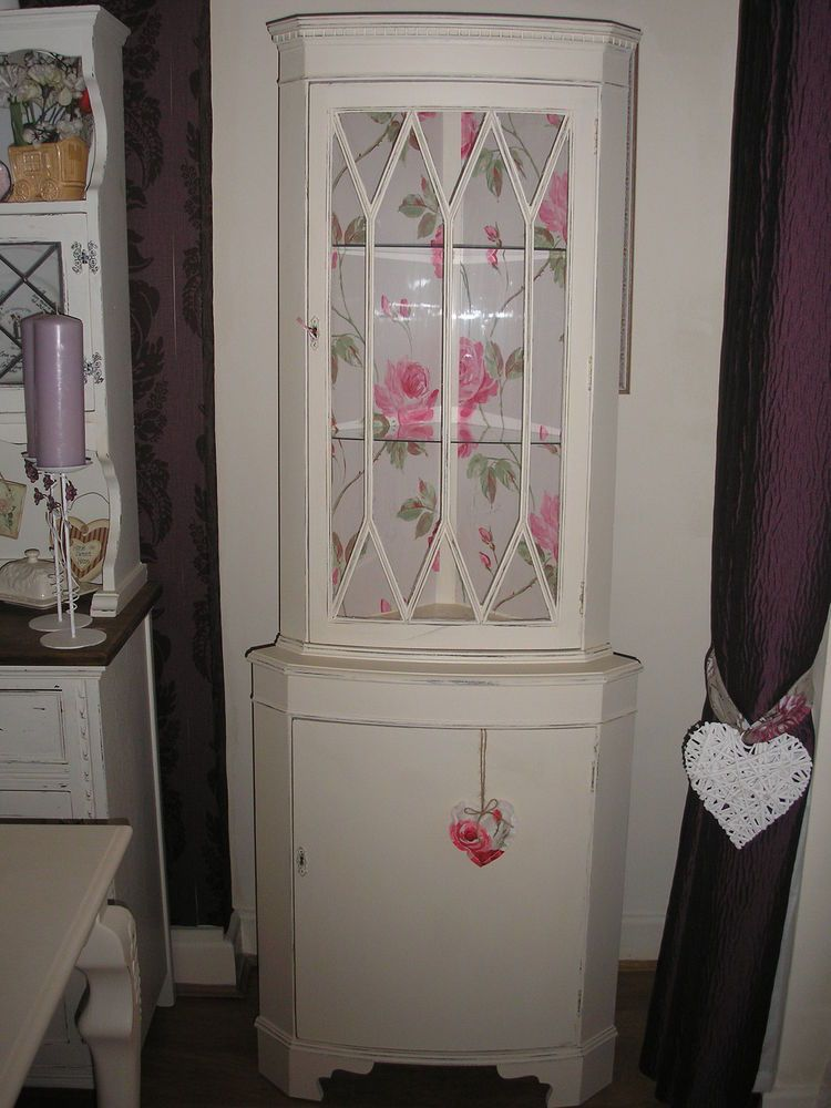 beautiful shabby chic corner unit dresser display cabinet living room pinterest corner. Black Bedroom Furniture Sets. Home Design Ideas