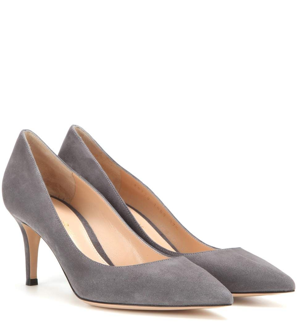 Gianvito 85 Leather Pumps In Lapis Suede Pumps Suede Leather Shoes Pumps Outfit