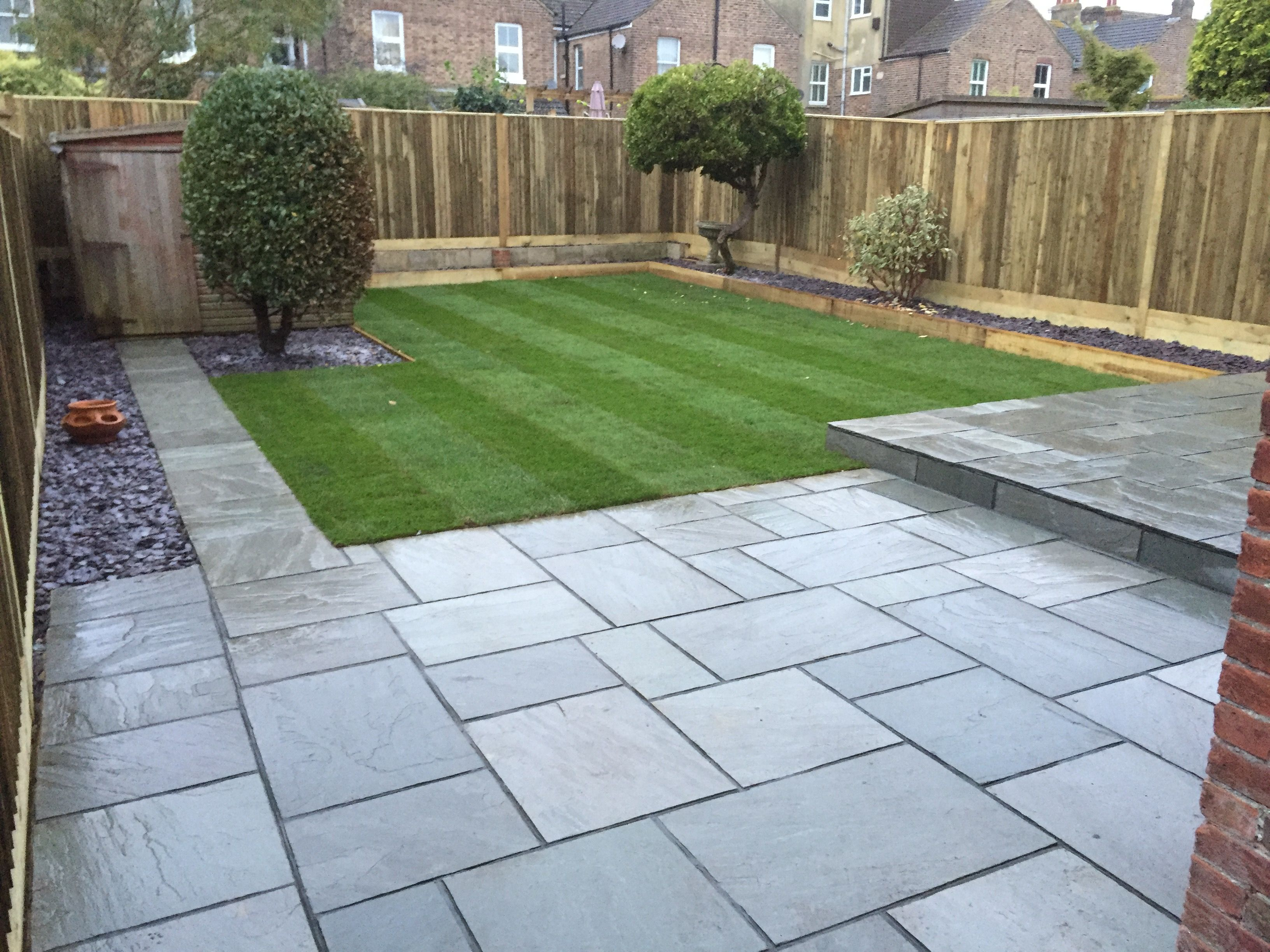 Grey sandstone paving with dark grey pointing menards for Garden decking and slabs