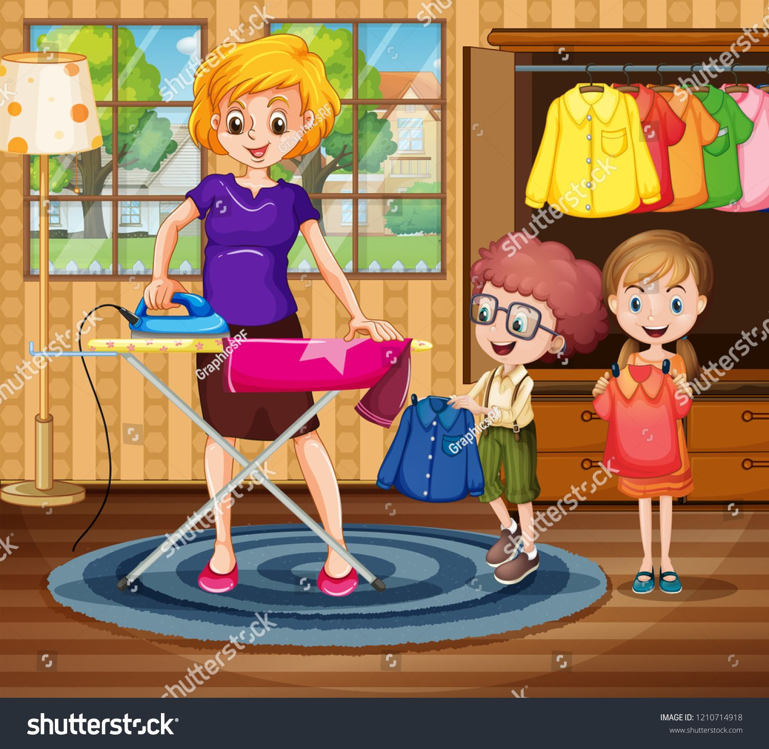 Mother Ironing Cloth For Children Illustration Ad