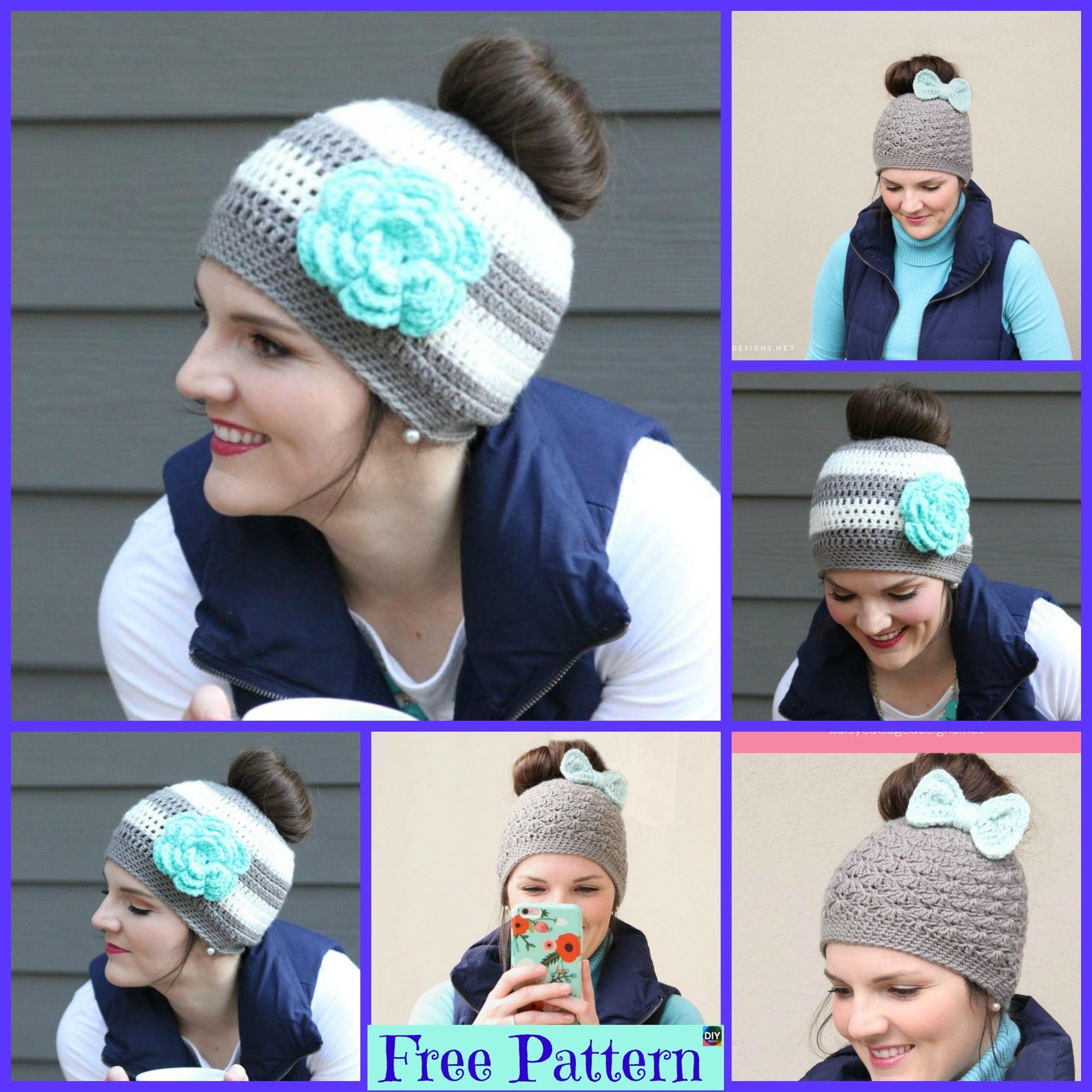 8 Crochet Messy Bun Hat Free Patterns #messybunhat 8 Crochet Messy Bun Hat Free Patterns #freecrochetpatterns #hat #bunhat #accessories #messybunhat