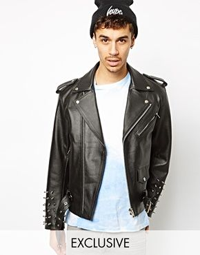 Reclaimed Vintage Leather Jacket with Studded Arms