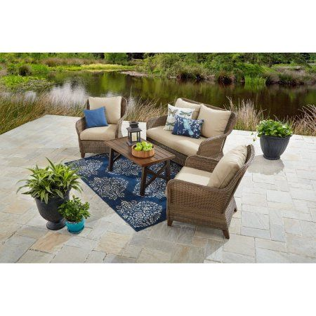 Better Homes And Gardens Camrose Farmhouse 4 Piece Conversation Set At