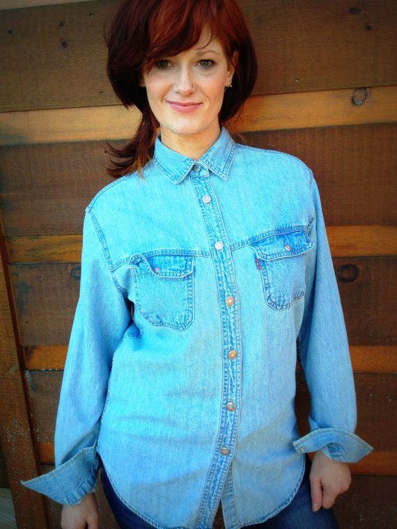 Vintage Tag Shirt Size Levi's Women's Denim qzfzxYTwa