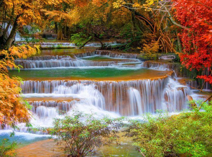 Waterfall River Landscape Nature Waterfalls Autumn Waterfall Wallpaper Waterfall Waterfall Scenery