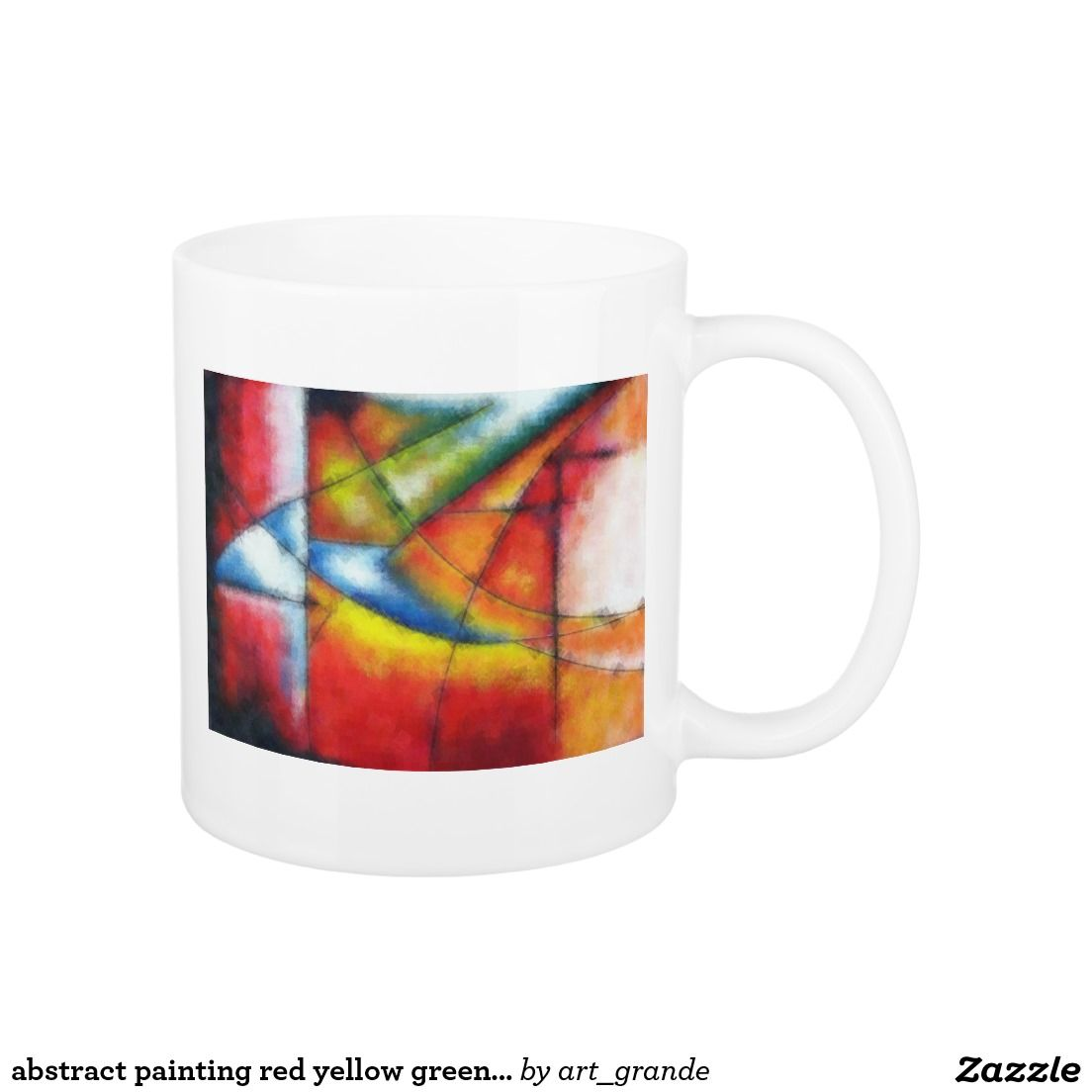 abstract painting red yellow green blue coffee mug
