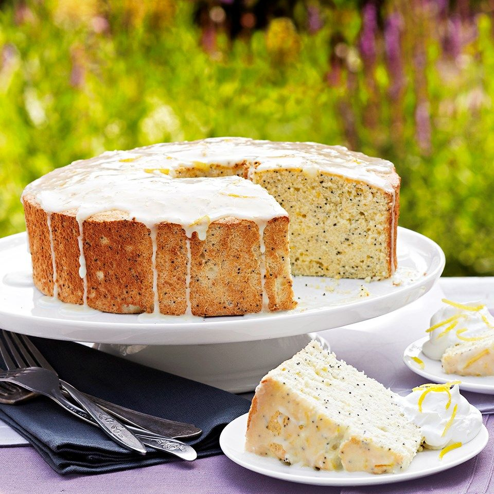 Lemon Poppy Seed Angel Cake Recipe In 2020 Lemon Recipes