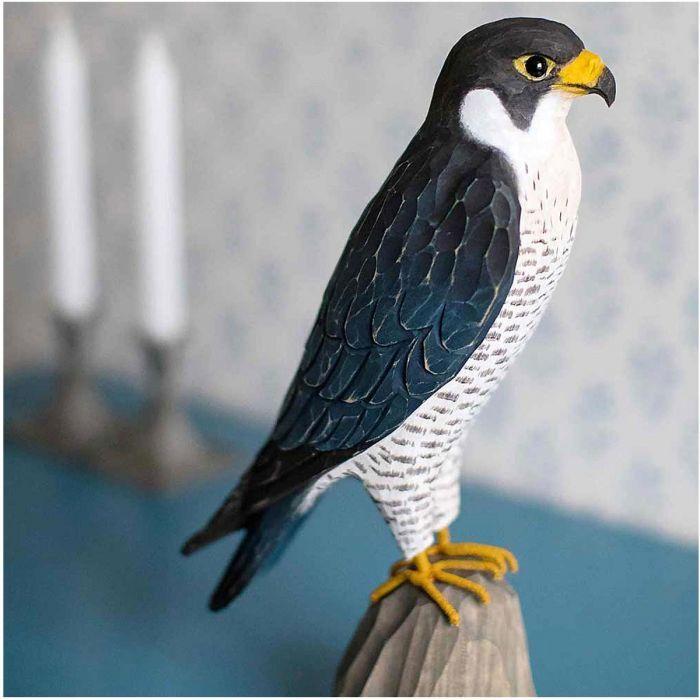 Uccello decorativo in legno Falco Pellegrino