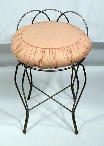 Vintage 1960 Hollywood Regency Vanity Chair Stool Vtg Iron
