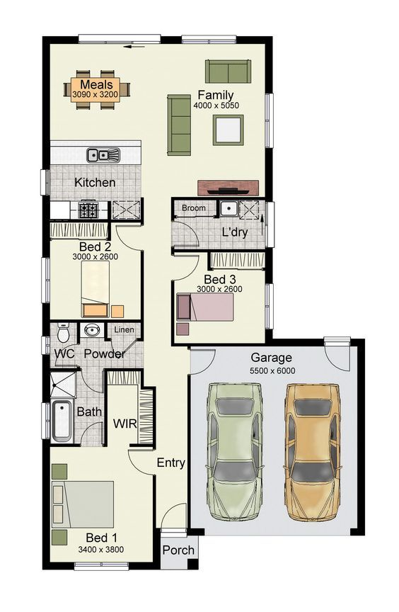 Single story home floor plan with 3 bedrooms, 2 baths