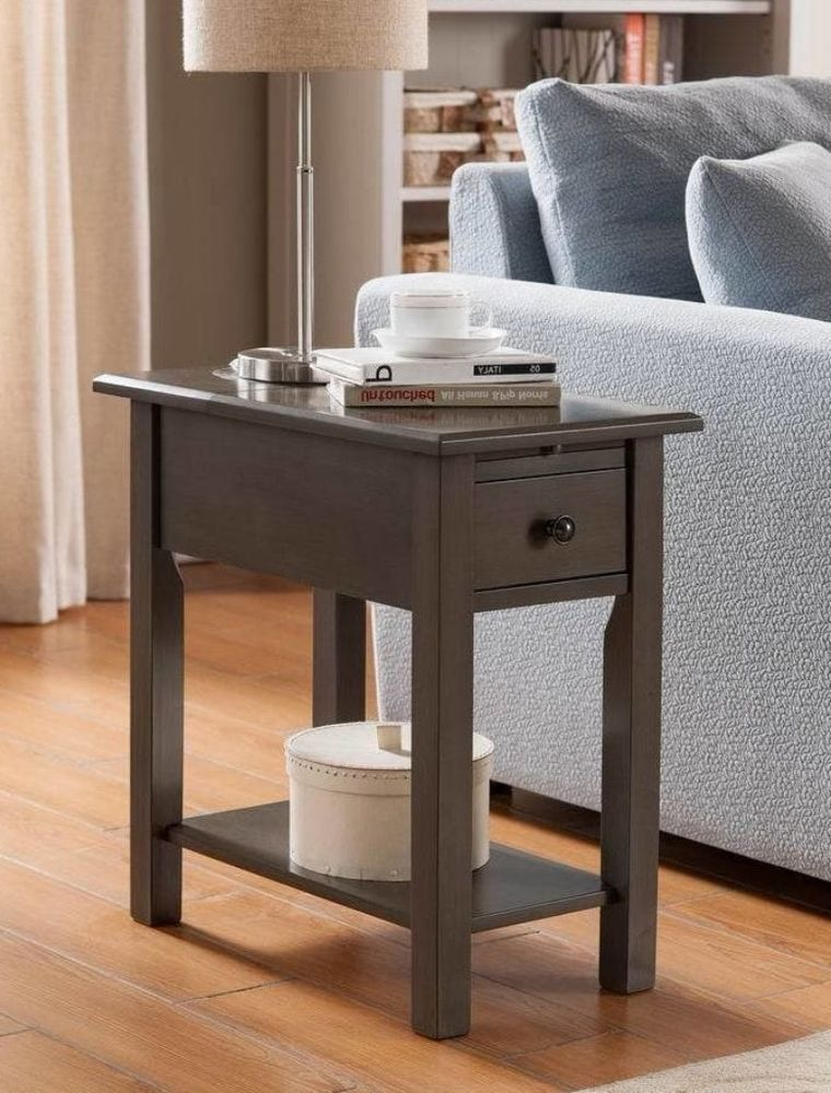 Modern Side End Table With Charging Station Hidden Usb Ports Home