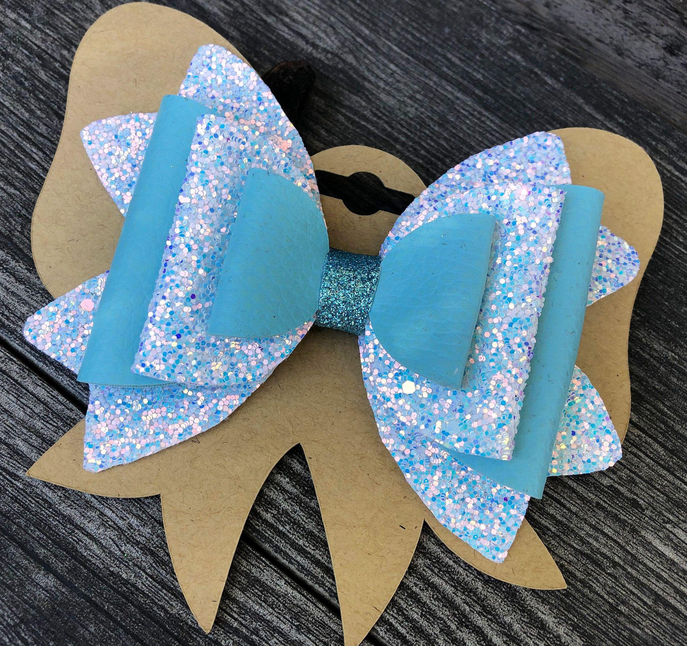 girls hair bow glitter hair bows baby girl headbands baby hair bows hair clips Blue hair bow