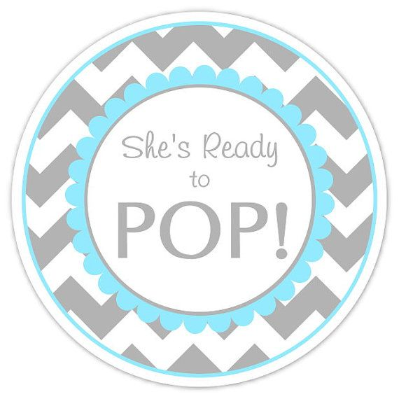 Baby Shower Ready To Pop Labels Gray And Blue Chevron Stickers